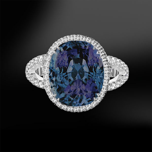 cushion oval alexandrite diamonds gold ring