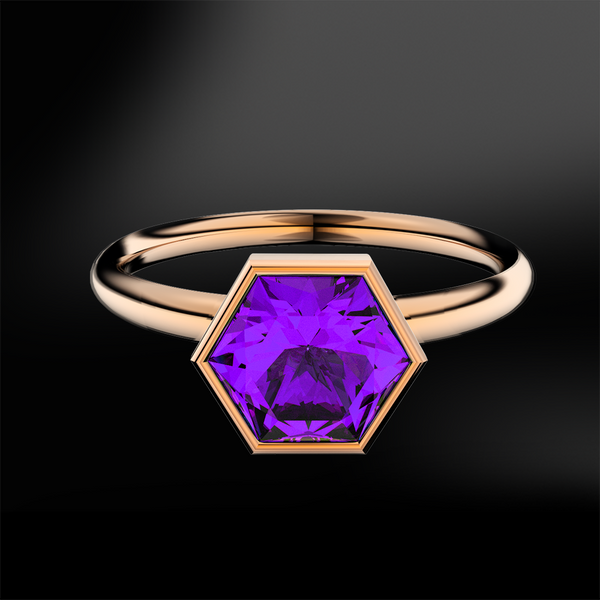 AMETHYST Hexagonal Ring