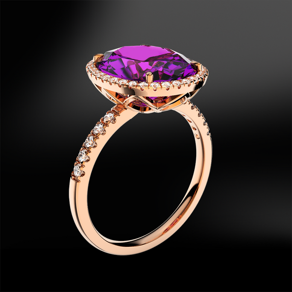 oval shape amethyst diamond wedding engagement gold ring