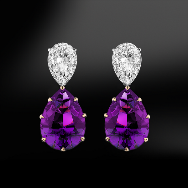 Pear shape amethyst diamond gold drop earrings