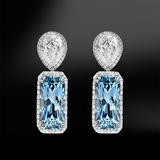 Cushion aquamarine diamond wedding engagement gold earrings birthstone