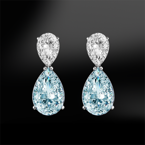 pear cut aquamarine diamond gold earrings march birthstone