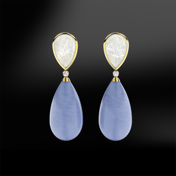 MOTHER OF PEARL, BLUE AGATE & DIAMOND Earrings