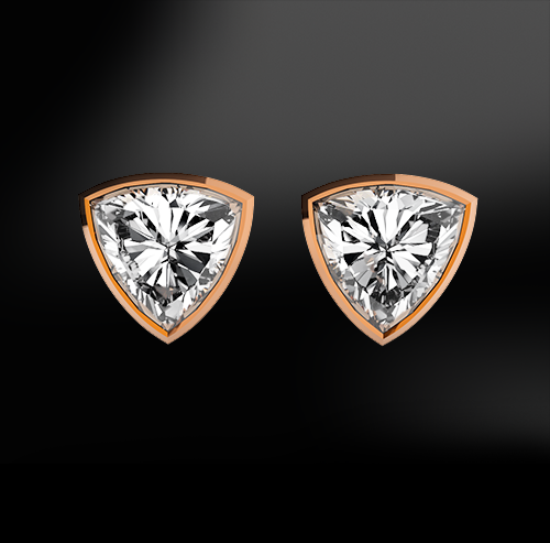 white trillion GIA certified diamond earrings