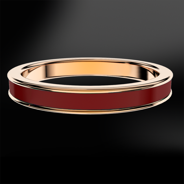 Burgundy Enamel Rose Gold Ring