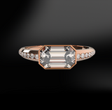 octagonal cut diamond rose gold women ring