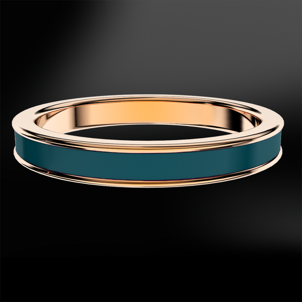 Teal Enamel Rose Gold Ring