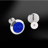 round lapis lazuli diamonds men engraved silver gold design cufflinks april birthstone