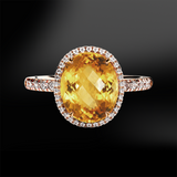 imperial yellow topaz white diamonds platinum rose gold engagement wedding ring november birthstone