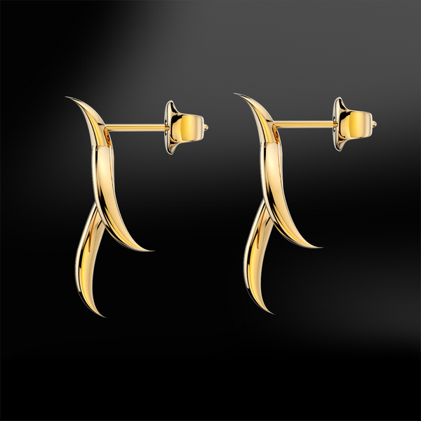 Gold diamonds claw earrings