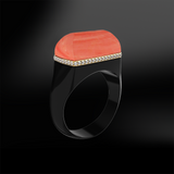 pink salmon black agate onyx diamond wedding engagement silver gold design ring december birthstone