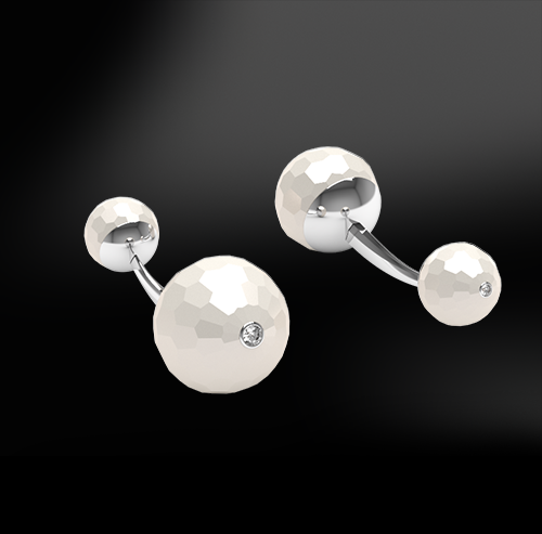 FACETED PEARL & DIAMOND Cufflinks