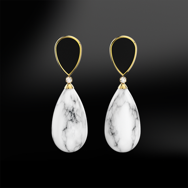 ONYX - DIAMOND - MARBLE Earrings
