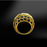 honeycomb silver gold design ring birthstone