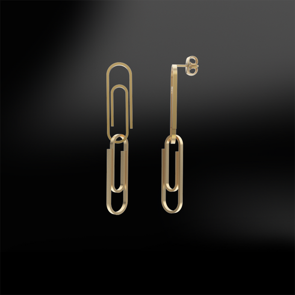 PAPER CLIP gold earrings