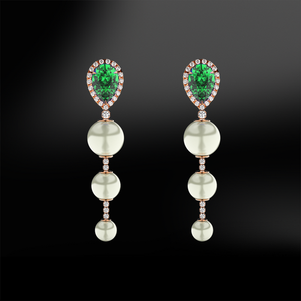 EMERALD - DIAMOND - PEARL Earrings