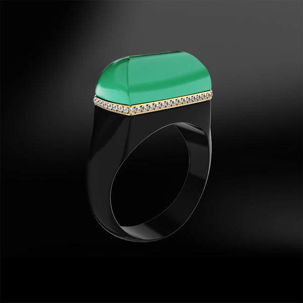 EMERALD - DIAMOND - BLACK AGATE Ring