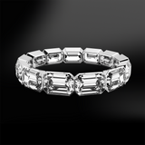 emerald cut diamond eternity gold platinum ring april birthstone