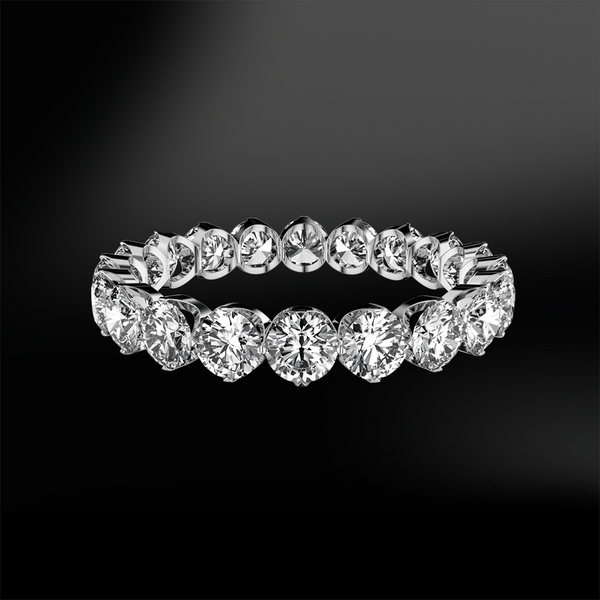 claw set round white GIA certified diamond wedding engagement gold eternity ring band