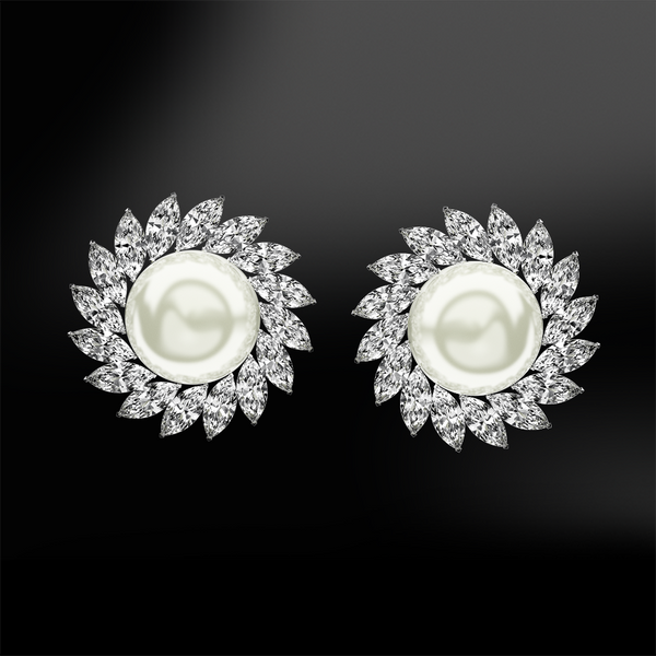 flower pearls diamonds earrings