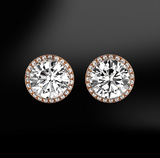 halo white round GIA certified diamond wedding engagement gold stud earrings
