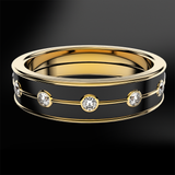 Diamond & Black Enamel Eternity Gold Ring