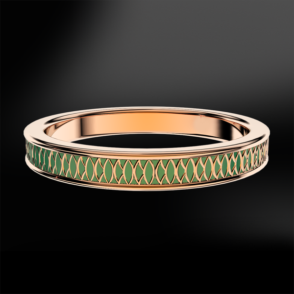 EMERALD Enamel Rose Gold Ring