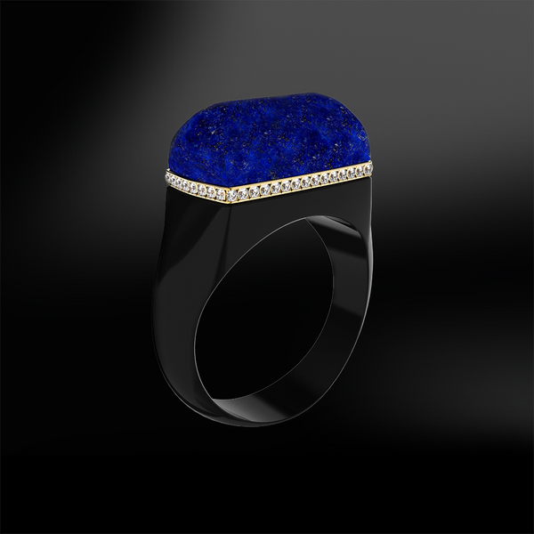 blue lapis lazuli black agate onyx diamond wedding engagement silver gold design ring birthstone