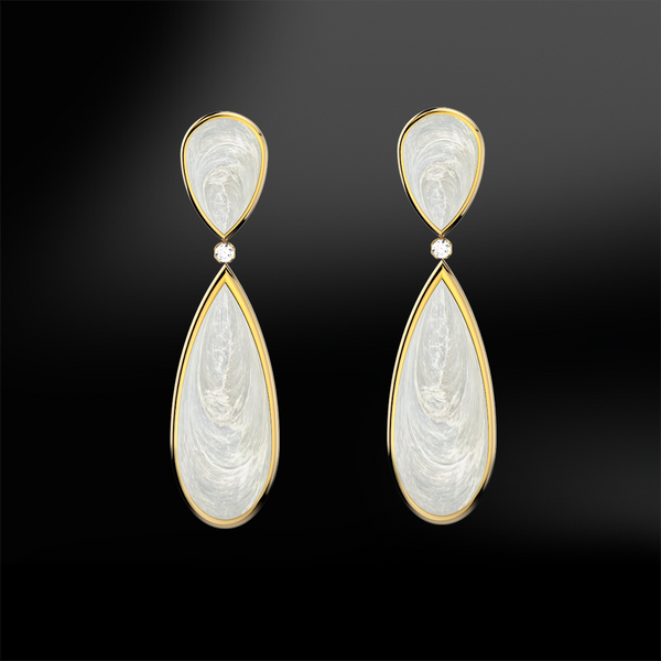 MOTHER OF PEARL - DIAMOND Earrings