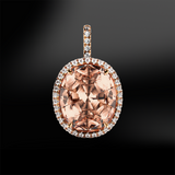 oval morganite diamond wedding engagement gold pendant april birthstone