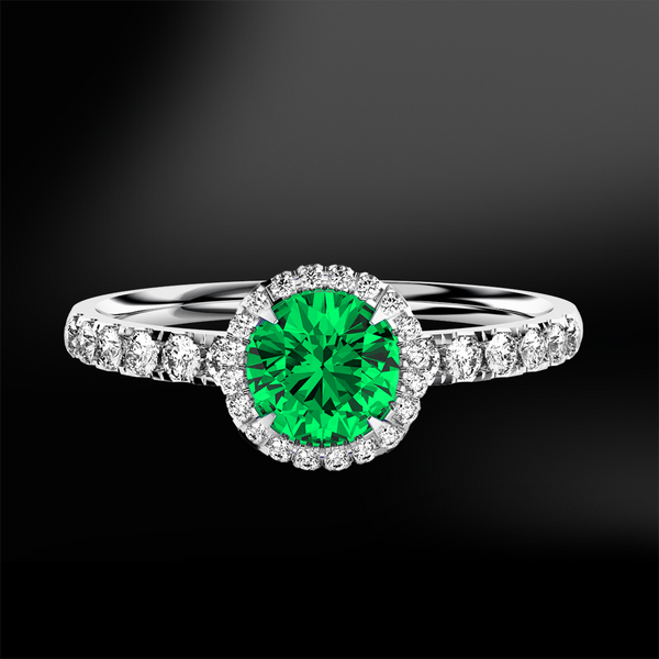 round emerald halo diamonds engagement wedding gold ring may birthstone