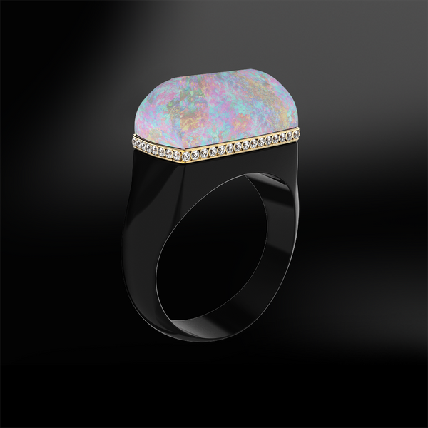 Crystal OPAL, DIAMOND and BLACK AGATE Ring