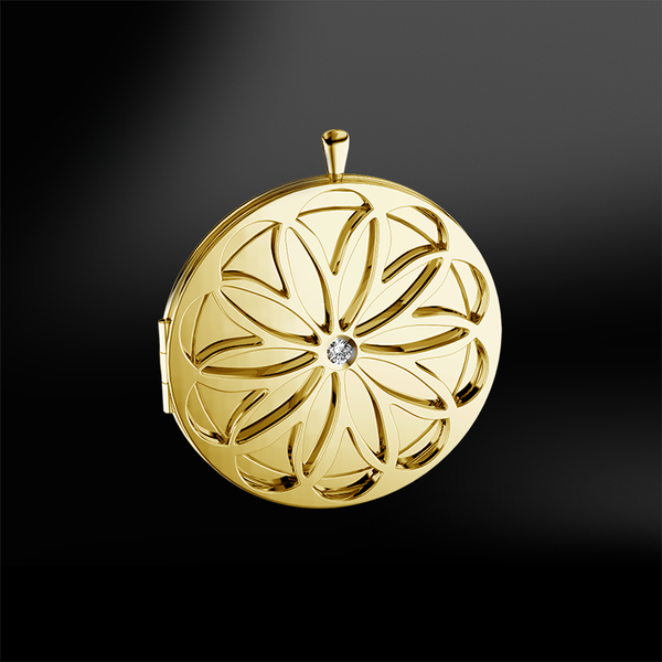 diamond gold locket