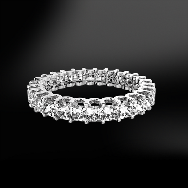 claw set princess cut white GIA certified diamond wedding engagement gold eternity ring