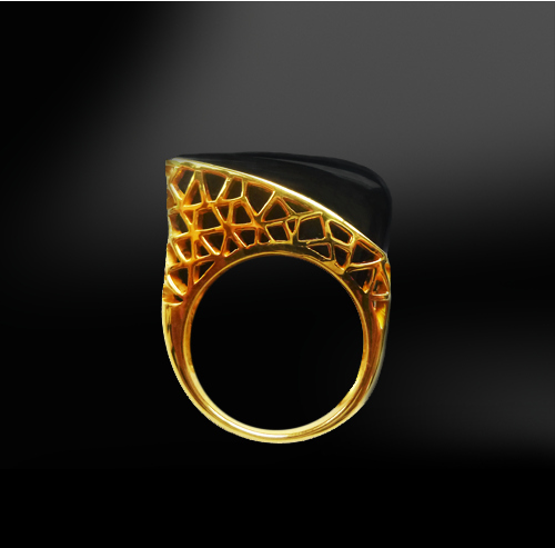 black agate onyx honeycomb silver gold design ring  birthstone