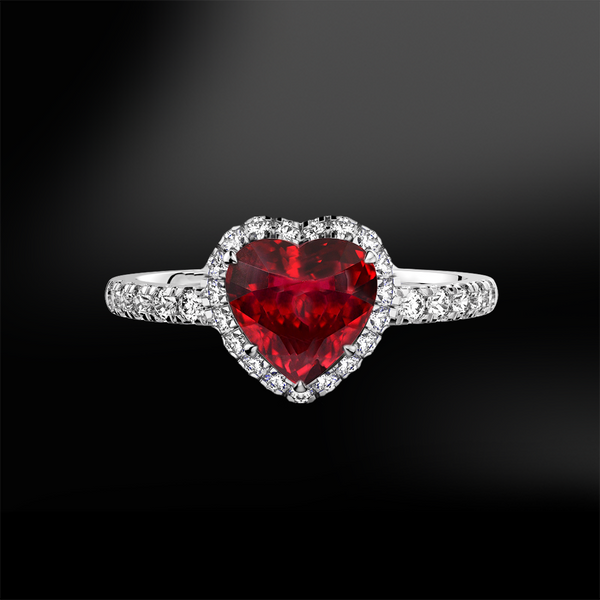 RUBY - DIAMOND Heart Ring