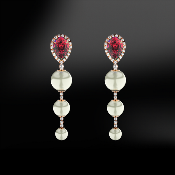 RUBY, DIAMOND & PEARL Earrings