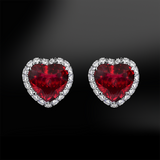 RUBY - DIAMOND Heart Earrings