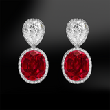 oval ruby white diamonds halo silver gold elegant art deco stud earrings july birthstone