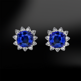 cushion sapphire and trillion diamonds earrings