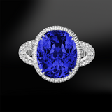 oval cut blue ceylon unheated sapphire white diamonds platinum gold engagement wedding ring september birthstone