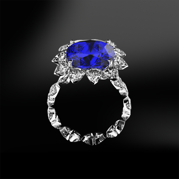 Cushion SAPPHIRE - Trillion DIAMOND Ring