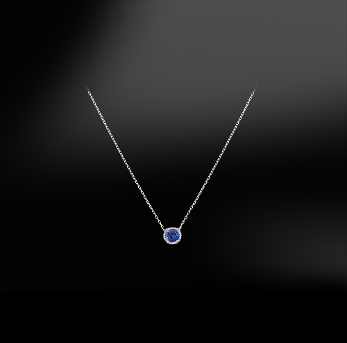 round cut blue ceylon unheated sapphire white diamonds platinum gold engagement wedding pendant september birthstone