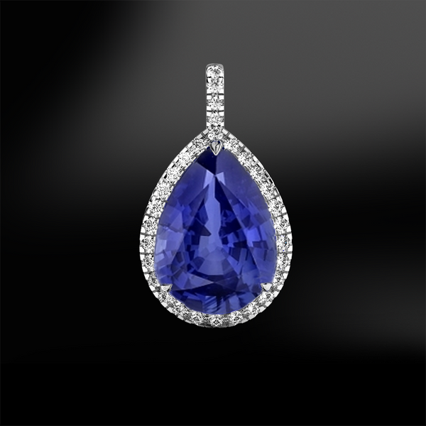 pear shape sapphire white diamonds halo platinum gold elegant design engagement wedding pendant september birthstone