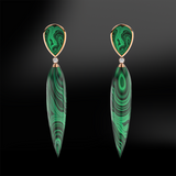 Claw Malachite Gold Earrings