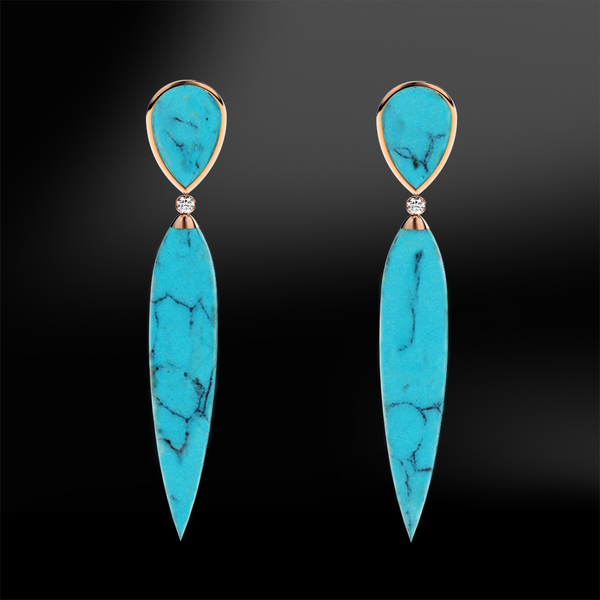 Pointed DIAMOND TURQUOISE Gold Earrings