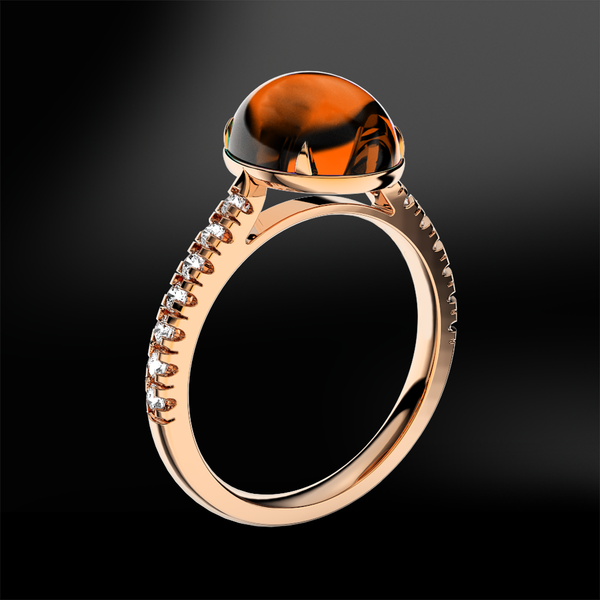 SPESSARTITE GARNET - DIAMOND Ring