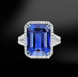 emerald cut tanzanite white diamonds halo platinum gold elegant engagement wedding pendant december birthstone