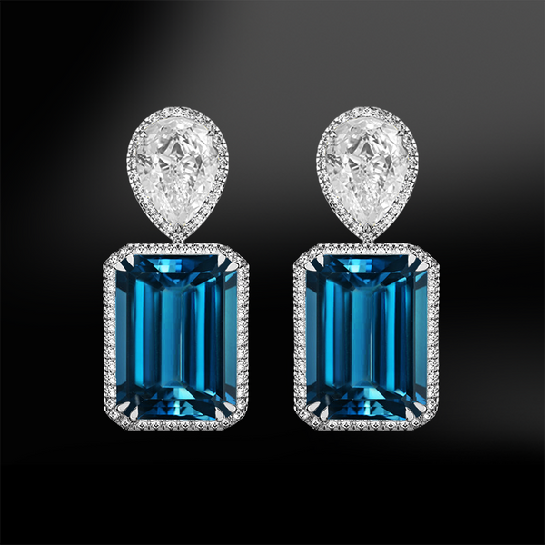 octagonal london blue topaz pear shape diamonds platinum gold engagement wedding drop earrings november birthstone