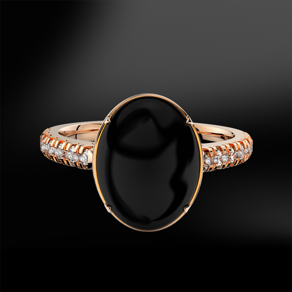 BLACK TOURMALINE & DIAMOND Ring